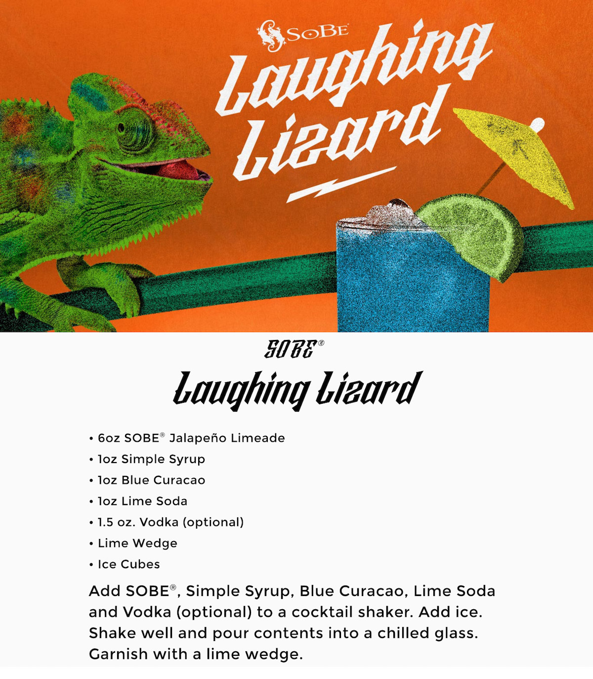 SoBe Laughing Lizard cocktail recipe