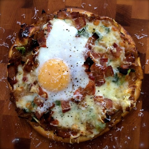 Caramelized Onion, Kale, Bacon and Egg Pizza