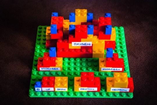 Una molecola d'acqua di LEGO, con i suoi costituenti