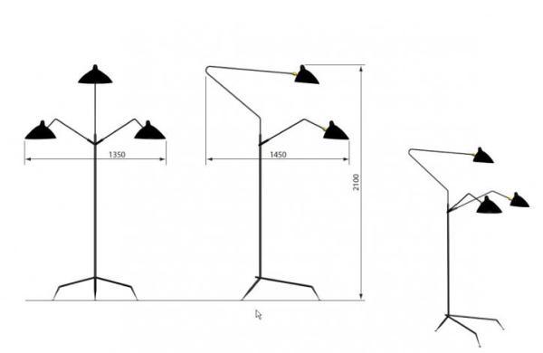 Lampadaire 3 bras pivotants 3