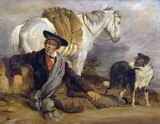 Scotsman with horse and Border Collie, Richard Ansdell