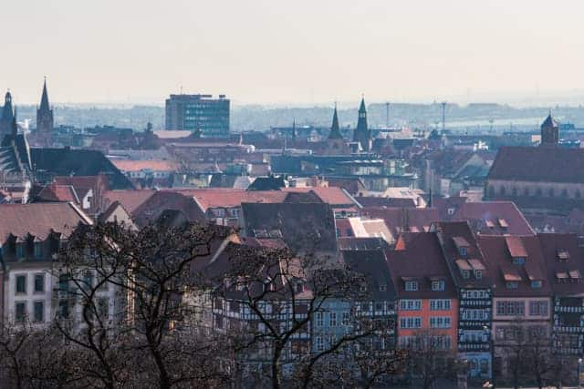 View fron fortress Petersberg, Zitadelle Petersberg, Erfurt, Germany