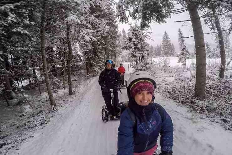 Segway in snow in Tirol, Austria