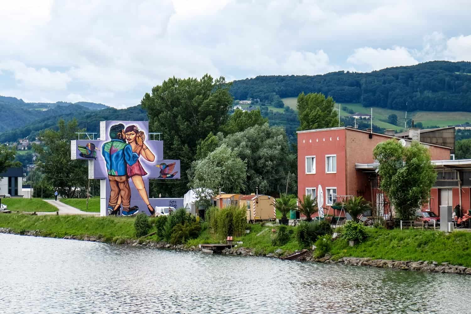 Linz Harbour art mural wall, Upper Austria