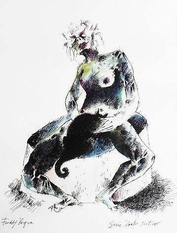 Obra de Freddy Pereira, dimensiones 38x28cm mixta sobre papel