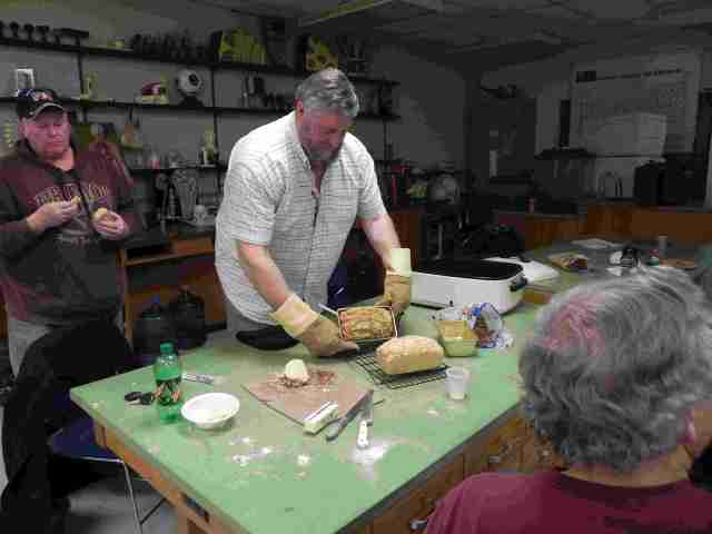 Steve baking beer bread in class
