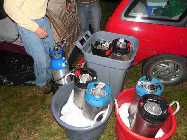 Randy and Andy made it up from Northfield with six COLD kegs wedged into a small car