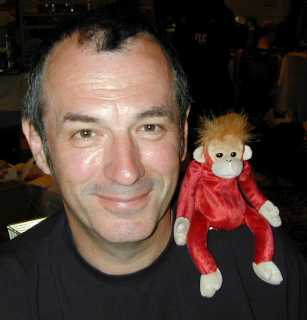 Artist Dave Gibbons and a Beanie Baby monkey called Ted