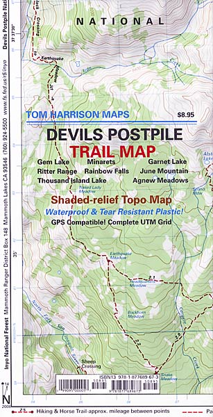 Devils Postpile Trail Map By Tom Harrison