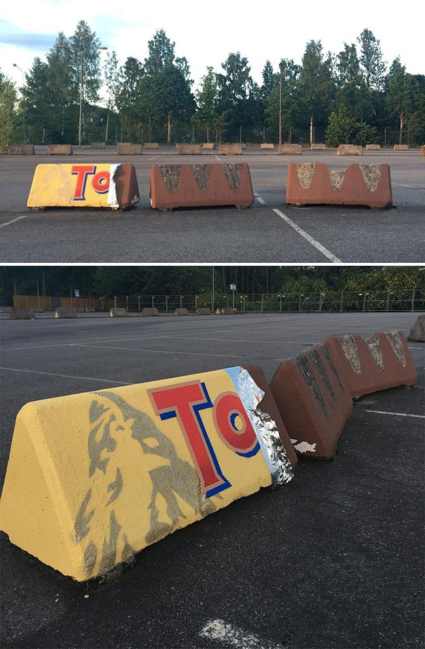 This Artist Is Going Viral By Turning Concrete Barriers Into A Giant Toblerone (+ More Of His Pics)