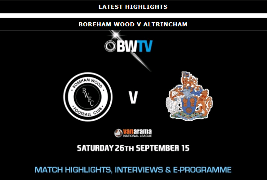 HIGHLIGHTS: BOREHAM WOOD VS ALTRINCHAM