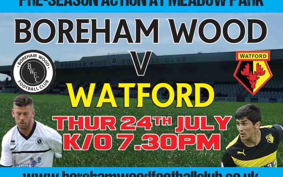 WATFORD FIRST TEAM COMING TO TOWN