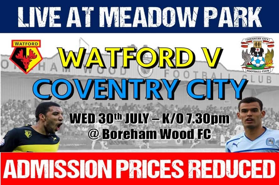 PRICE REDUCTION AGREED FOR WATFORD VS COVENTRY