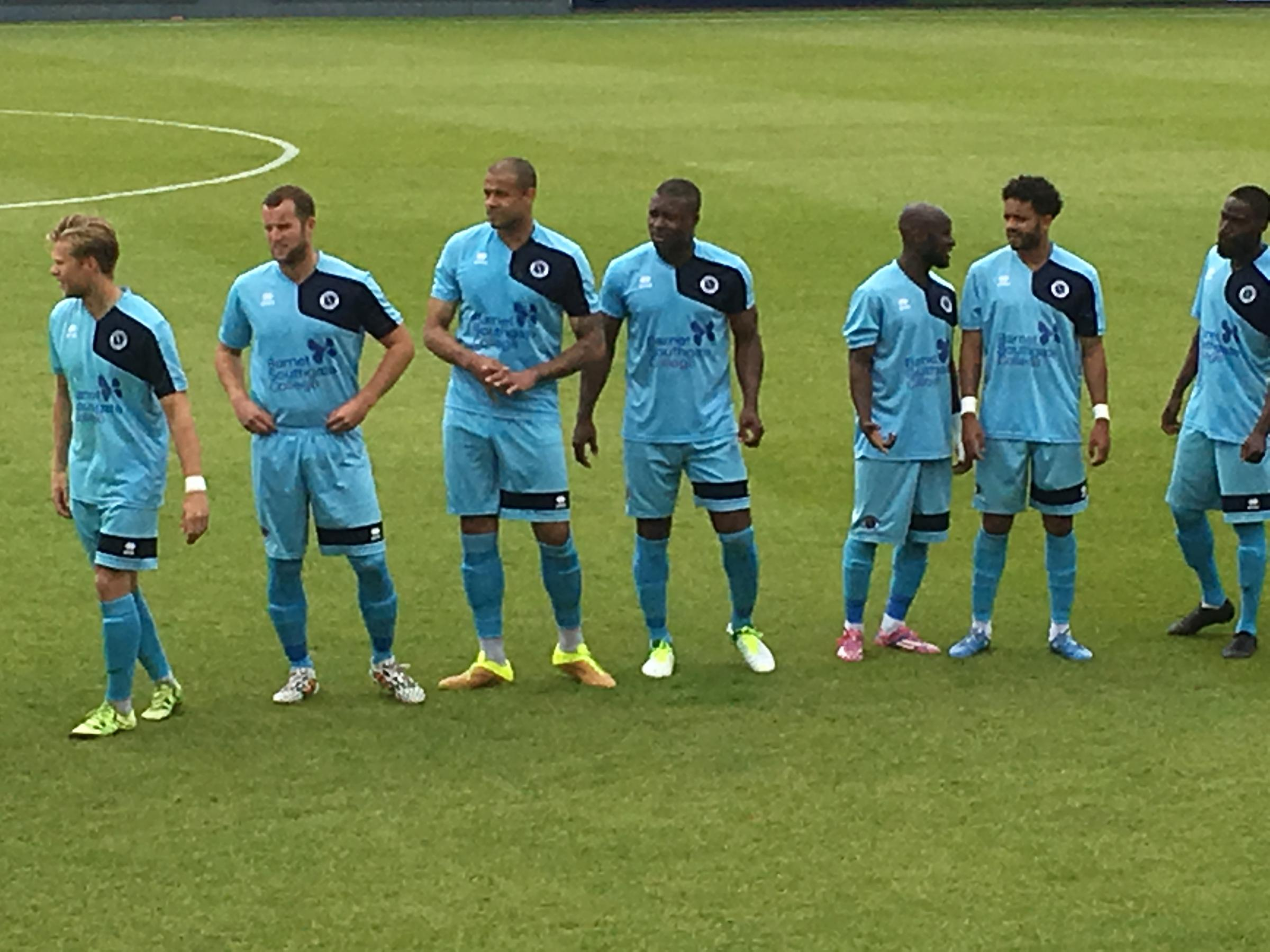 Yakubu, third from the right, lines up for Boreham Wood this afternoon. Picture: Tom Bodell