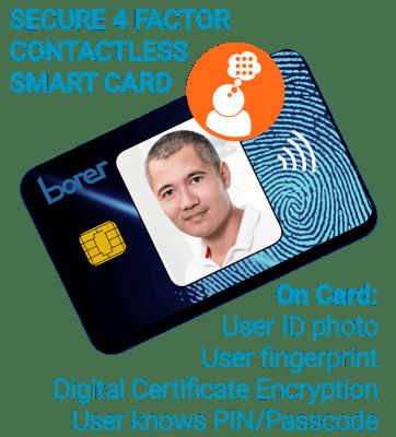 Borer multi-factor authentication smart card
