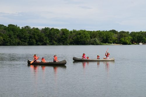 Campers canoe at MDA camp