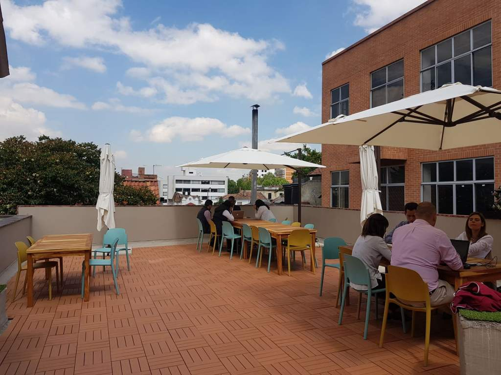 The Fabrilab has an awesome outdoor area where the kids will enjoy lunch.
