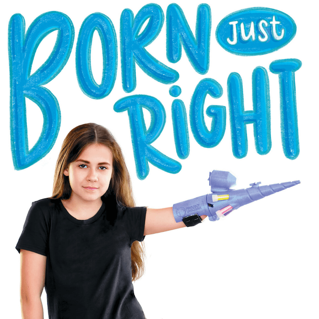 Born Just Right book cover with the words Born Just Right hand written in blue Jordan looks tough holding out a Project Unicorn blaster from her little arm