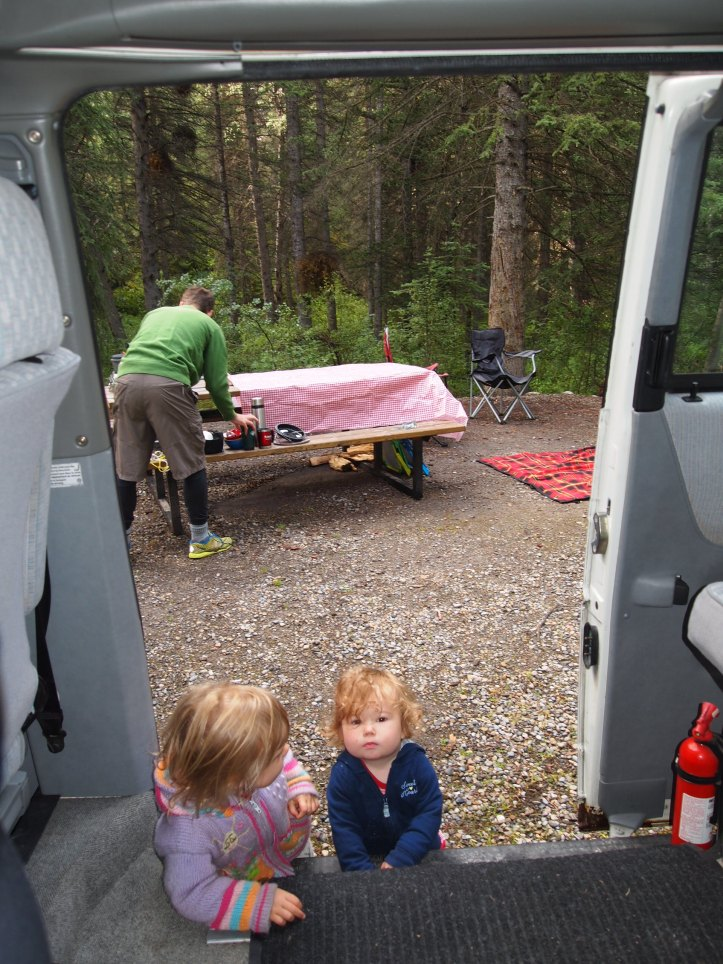 Setting up camp with two littles