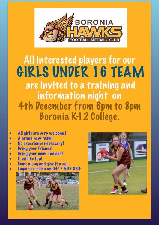 2019 U16 Girls Info