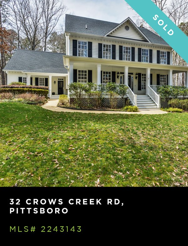 An exterior shot of a house located at 32 CROWS CREEK ROAD, PITTSBORO, MLS# 2243143