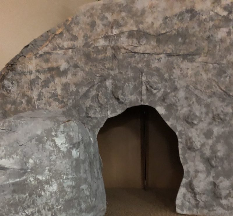 Close up of Faux Tomb and Boulder