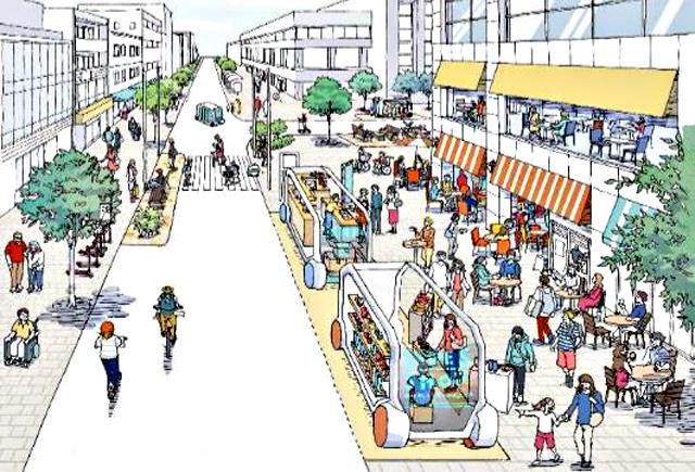 P5 1a 「2040年、道路の景色が変わる」より「店舗(サービス)の移動」イメージ - 国交省のポストコロナ――<br>「2040年、道路の景色が変わる」