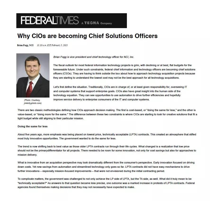 NCI - Brian Fogg FedTimes Article