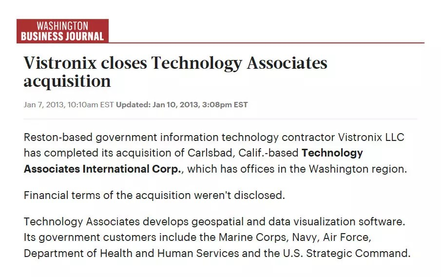 Vistronix - Washington Business Journal Article