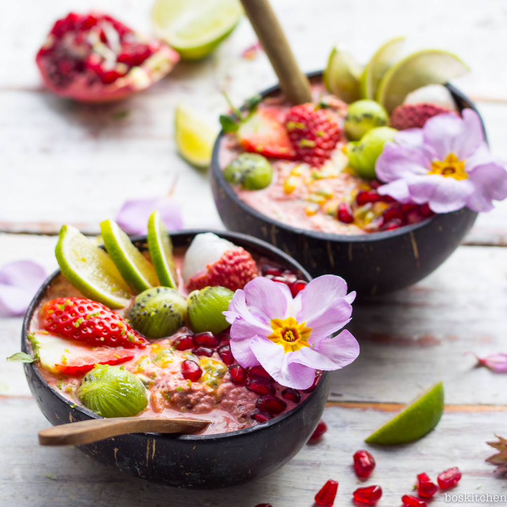 tropical bircher bowls