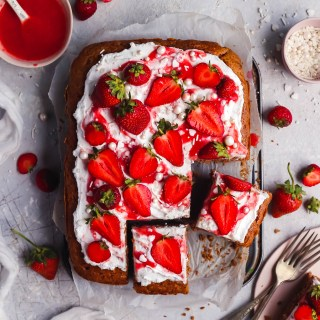 strawberry cake with coconut yoghurt frosting