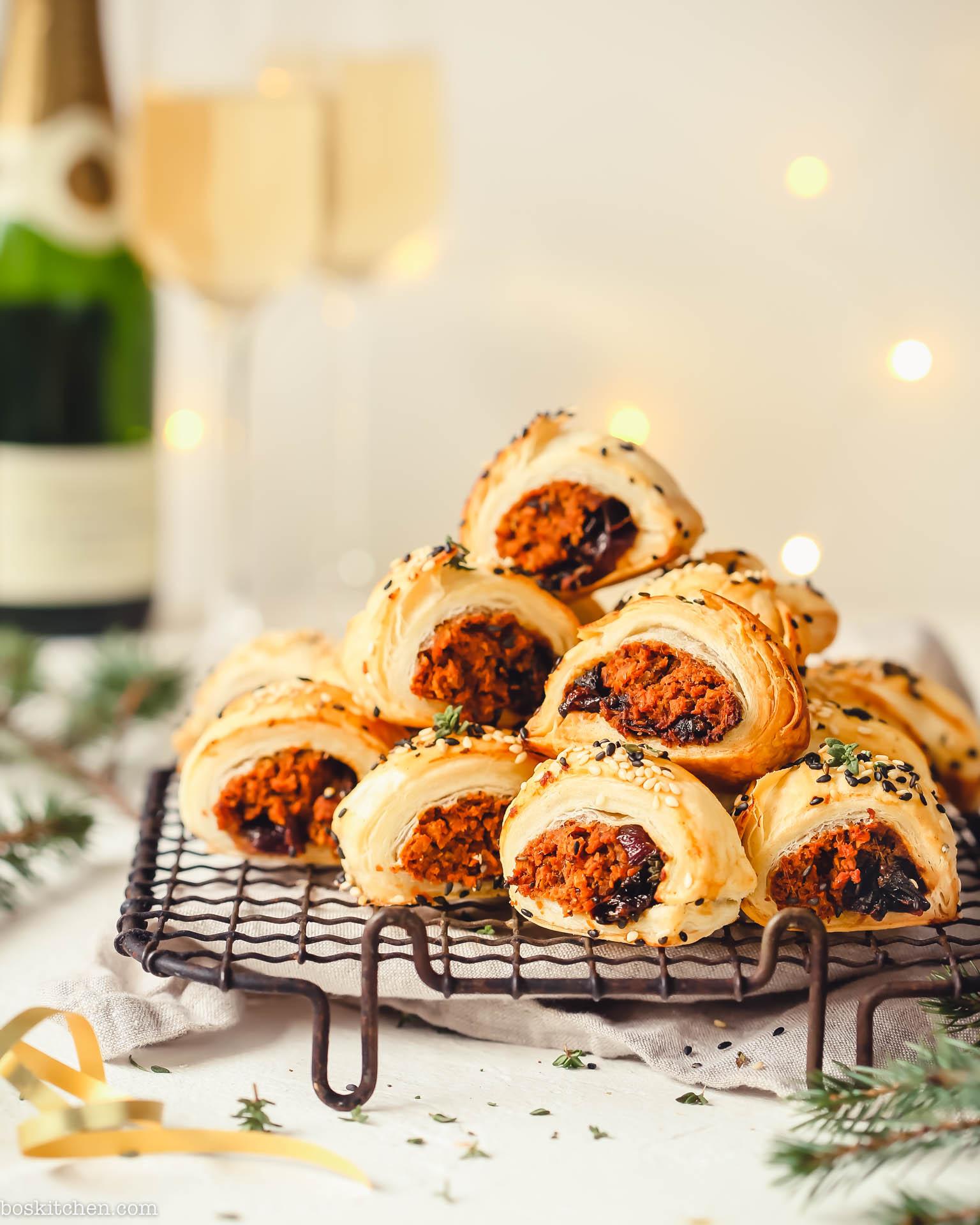 veggie sausage rolls with sweet potato