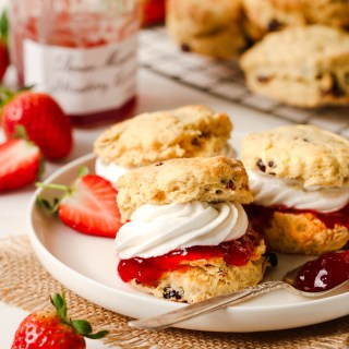 English scones with jam and cream