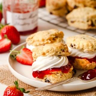 English scones with jam and cream