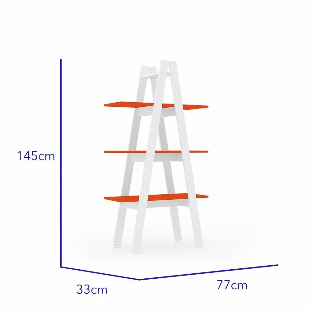 librero escalera antuan 3 niveles naranja 2