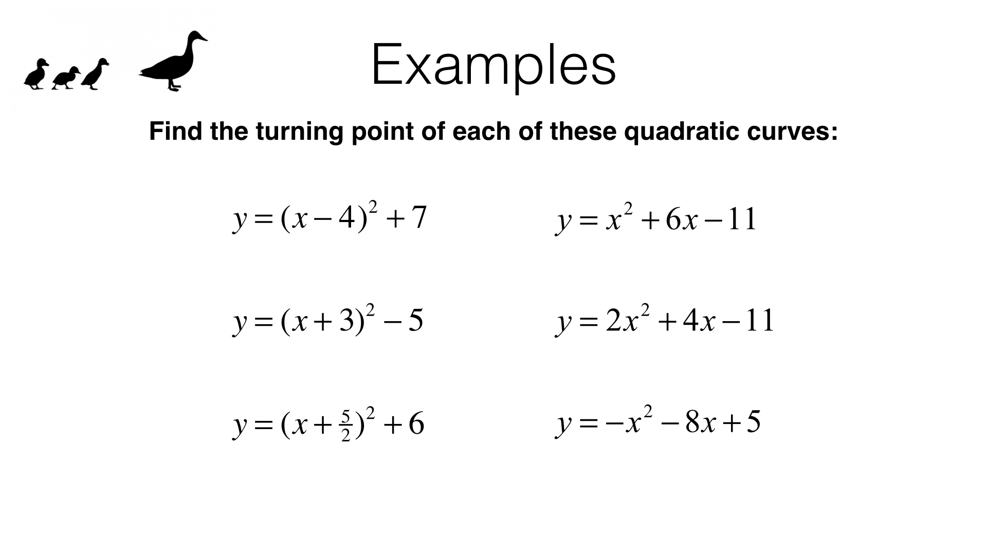 A11b Identifying Turning Points Of Quadratic Functions