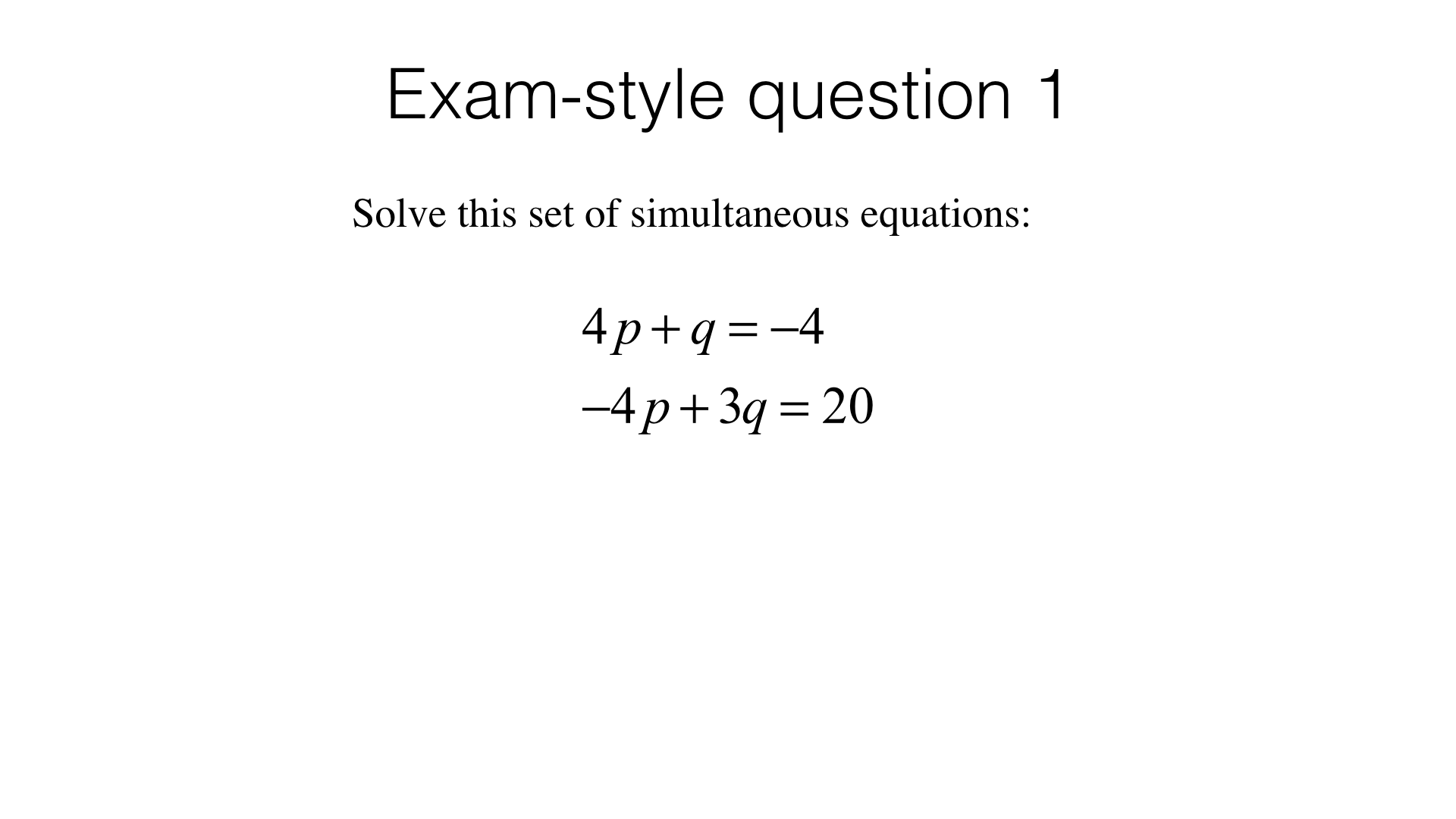 Quadratic Simultaneous Equations Past Paper Questions
