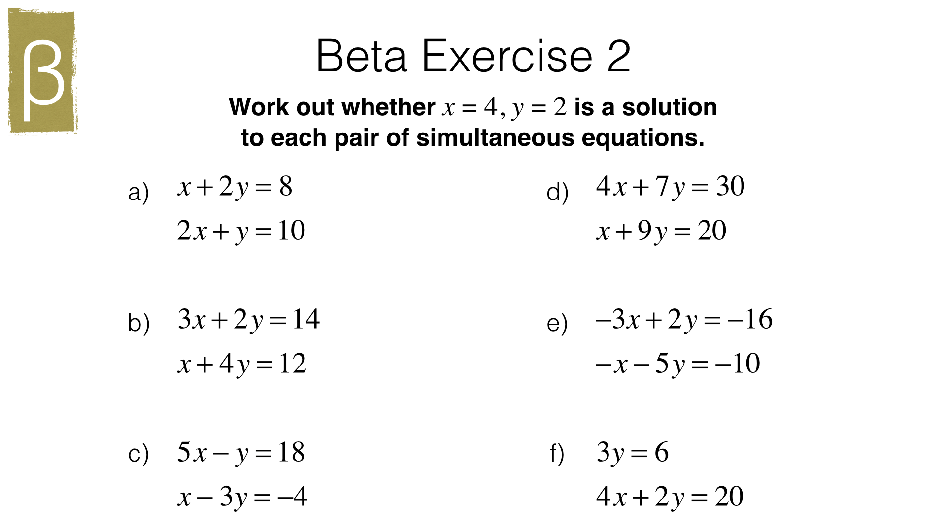Solving Problems Algebraically Worksheet