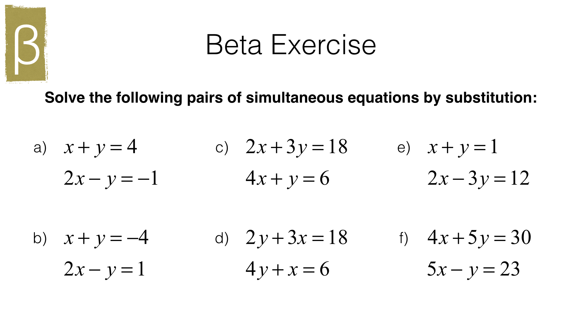 A19b Solving Two Linear Simultaneous Equations Graphically Or Algebraically By Substitution