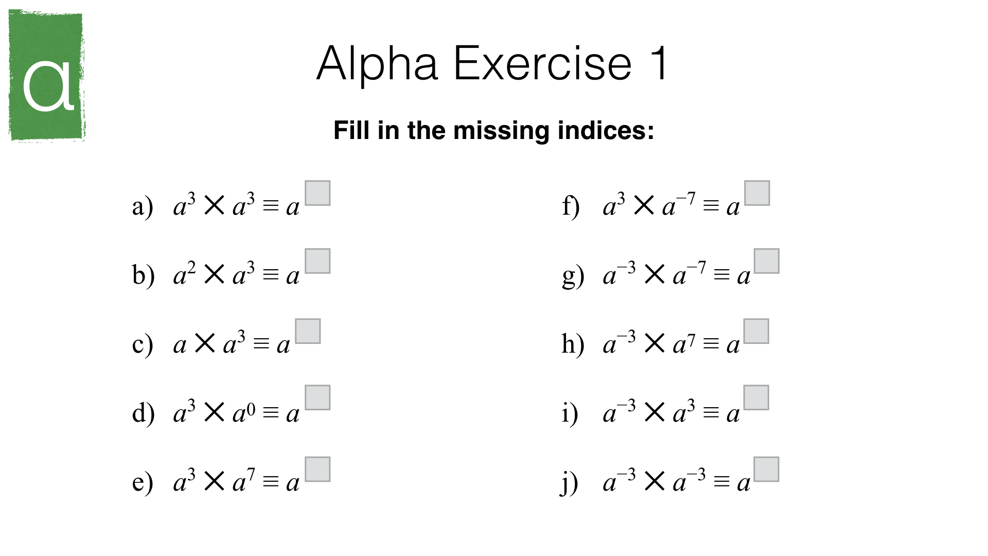 A4i Index Laws And Solving Equations Involving Indices