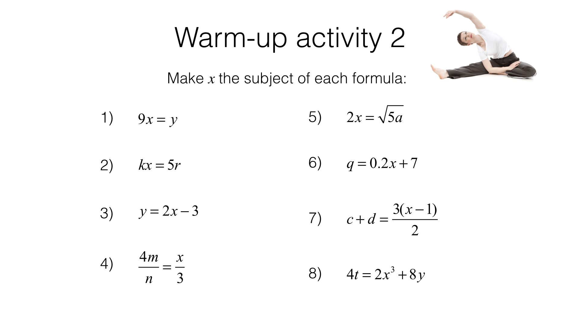 A5a Rearranging Formulas To Change The Subject