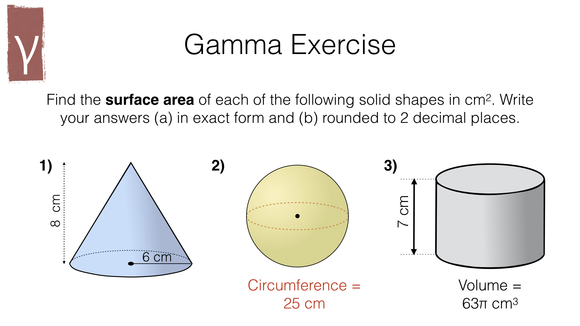 G17h Surface Area Of Cylinders Spheres And Cones Bossmaths