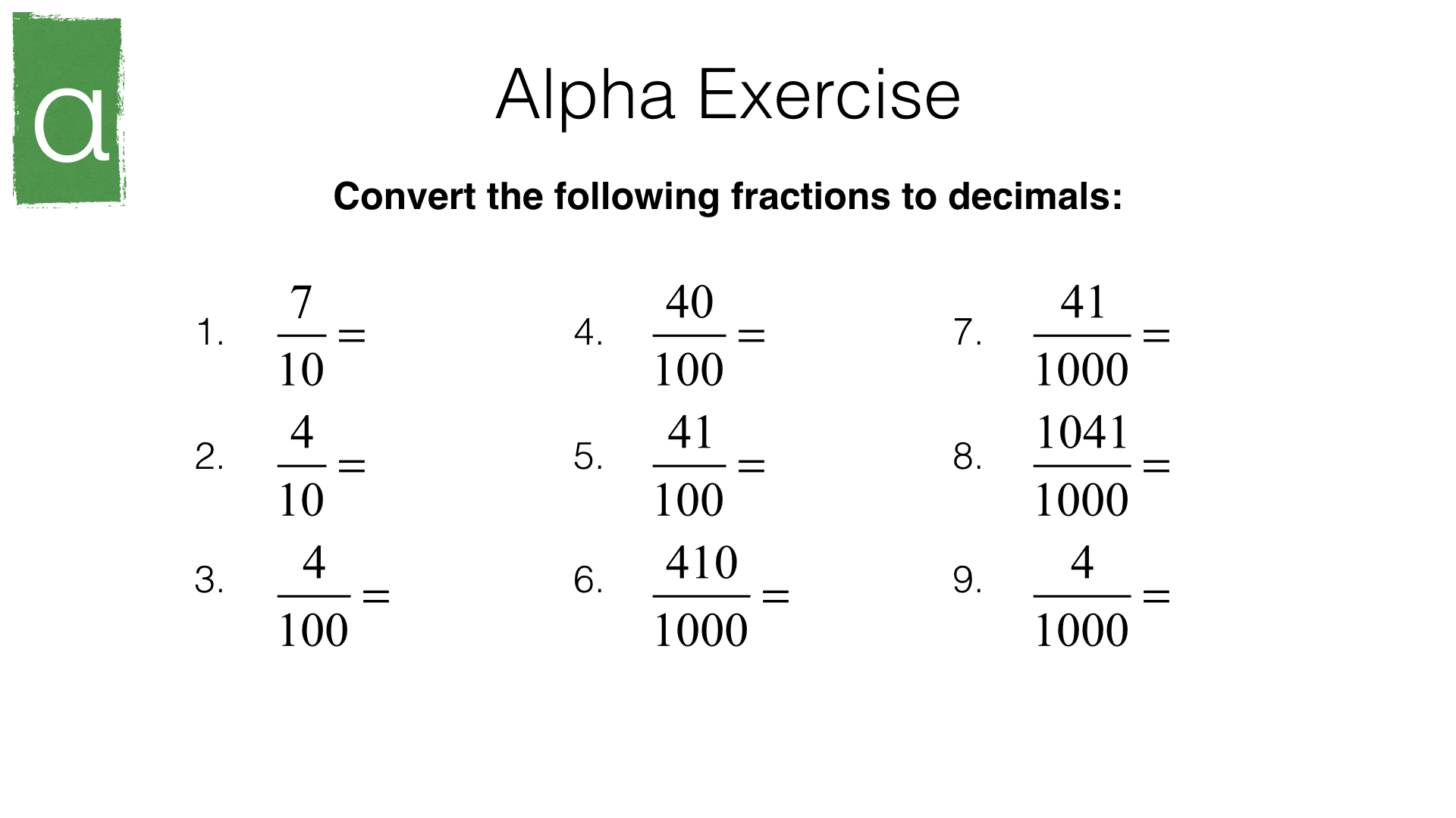N10a Converting Terminating Decimals Into Fractions And Vice Versa Bossmaths