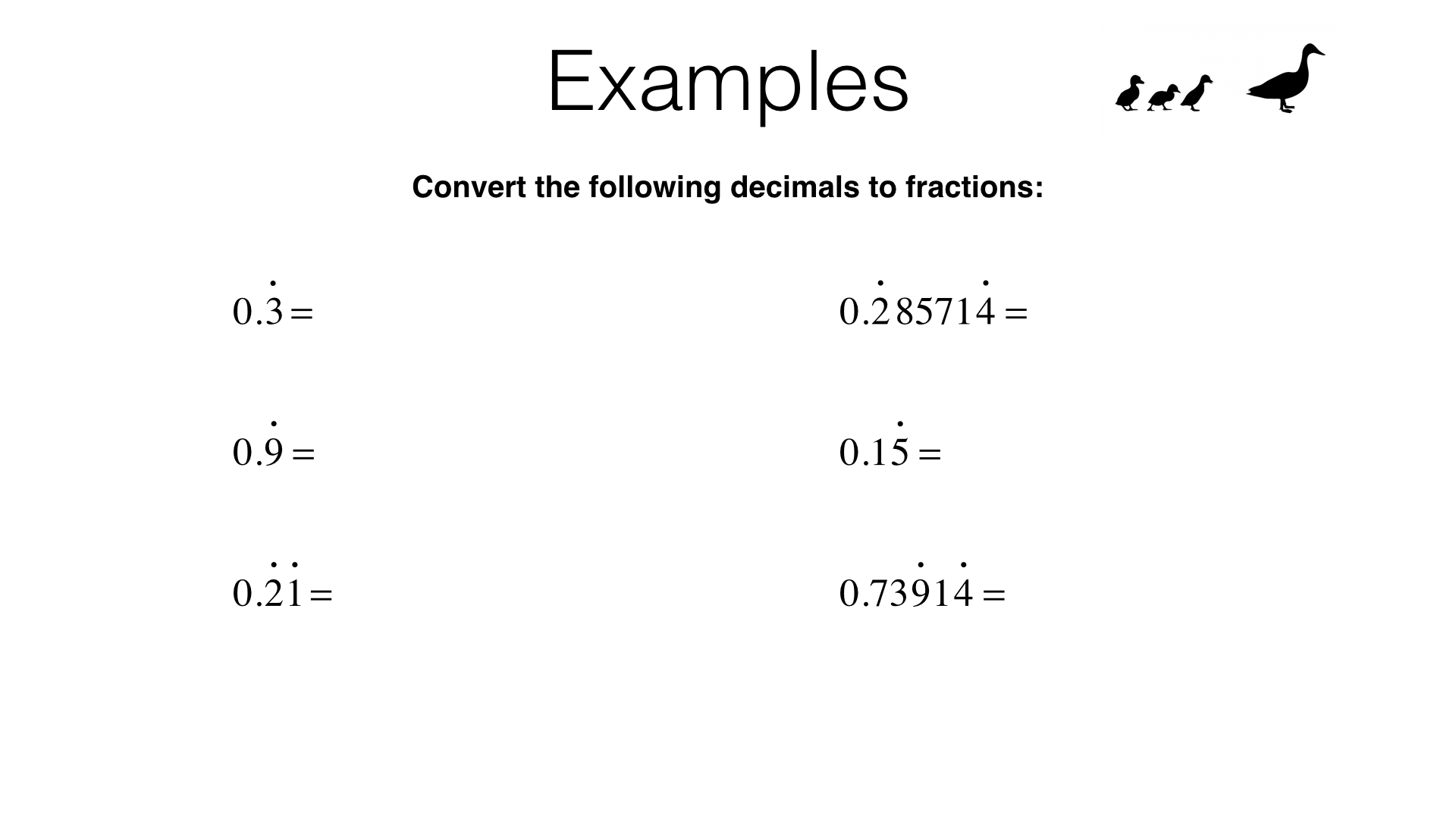 N10b Converting Recurring Decimals Into Fractions And Vice Versa Bossmaths