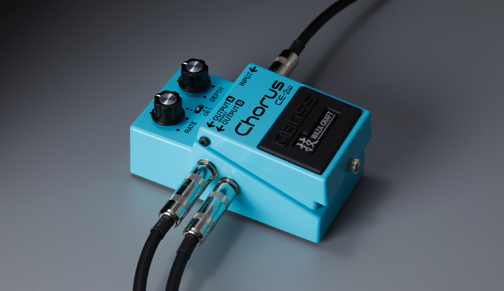 The Waza Craft CE-2W Chorus pedal features stereo output.