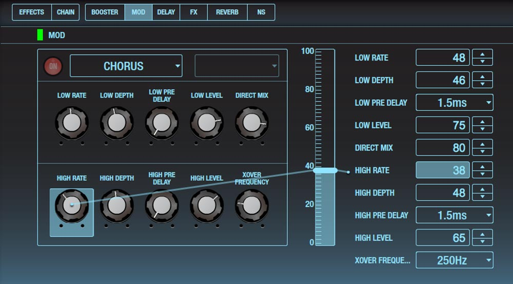 BOSS Tone Studio for Katana provides deep editing of effects parameters.