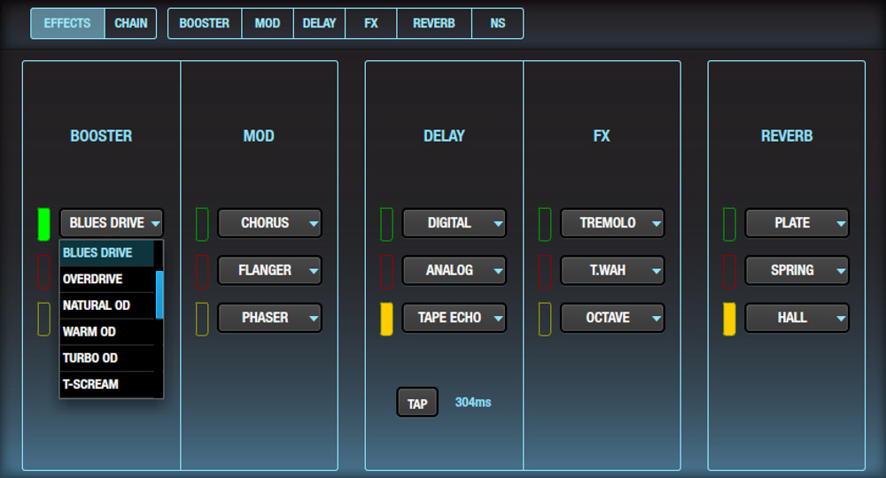 BOSS Tone Studio for Katana provides access to 55 different BOSS effects.