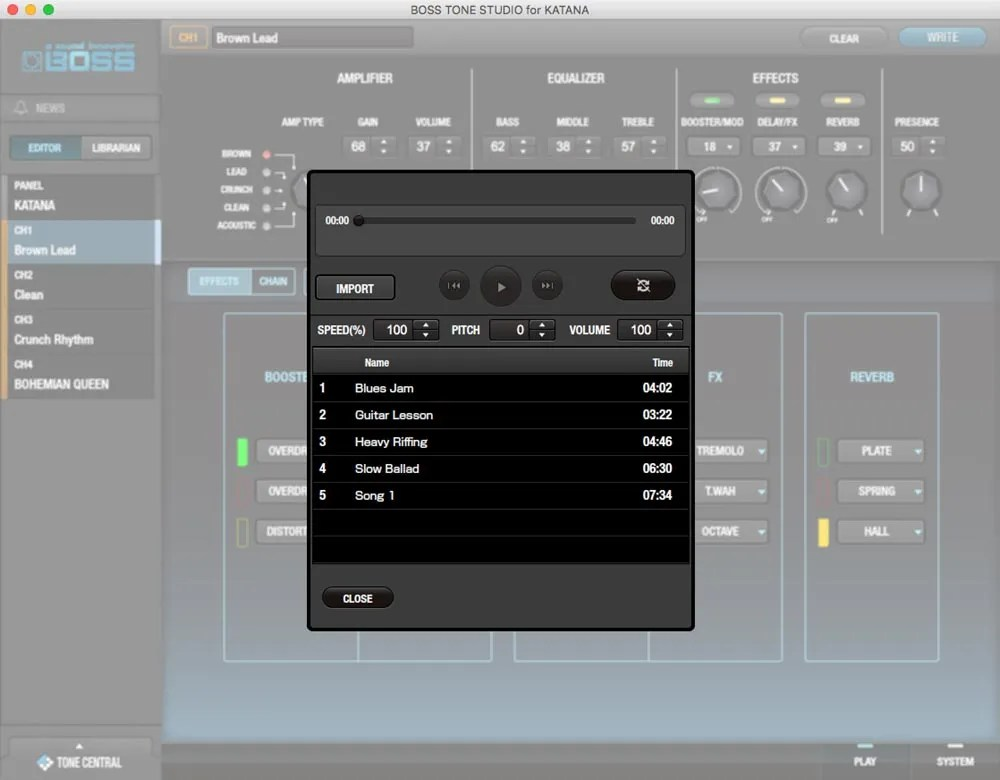 BOSS Tone Studio includes a built-in audio player.