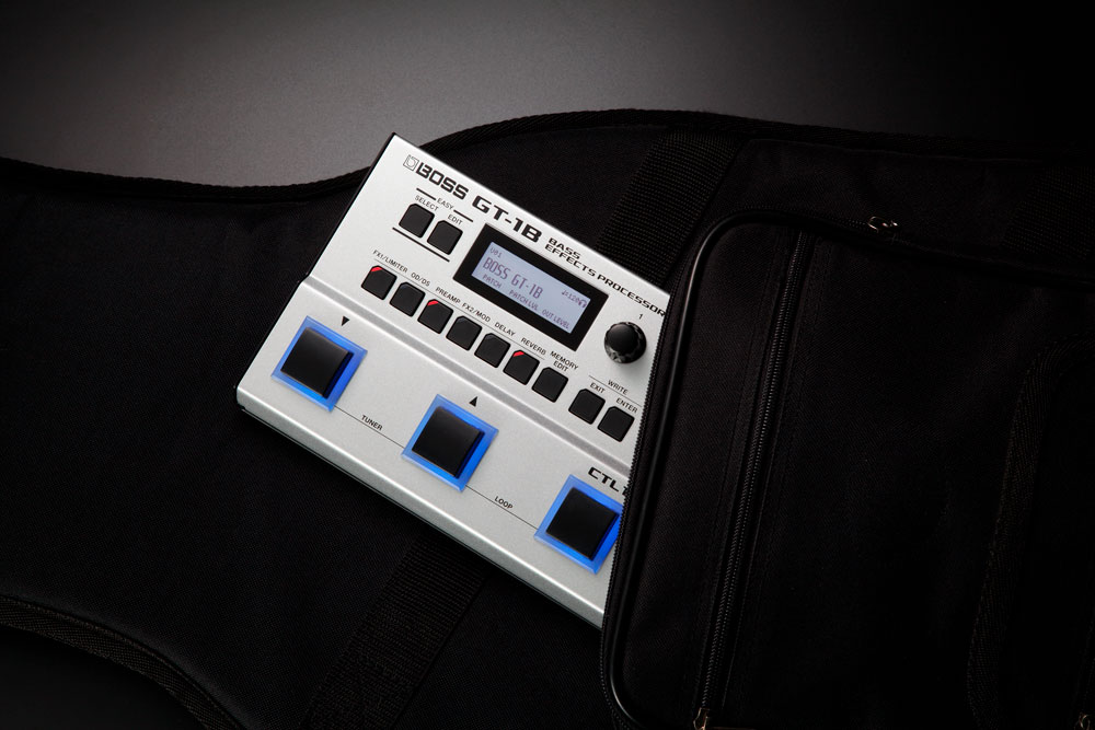Thanks to its slim, travel-ready design, the GT-1B slips easily into the accessory compartment of a bass bag.