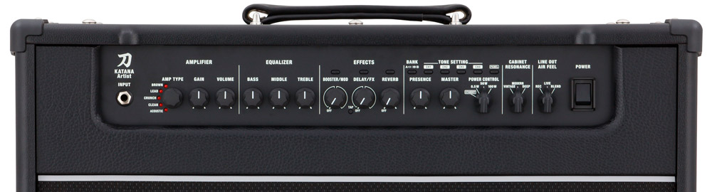 Front-facing control panel on the Katana-Artist amp.